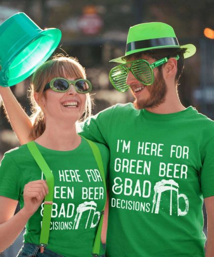 Funny St. Patrick's Day Shirt, I'm Here for Green Beer and Bad Decisions Shirt