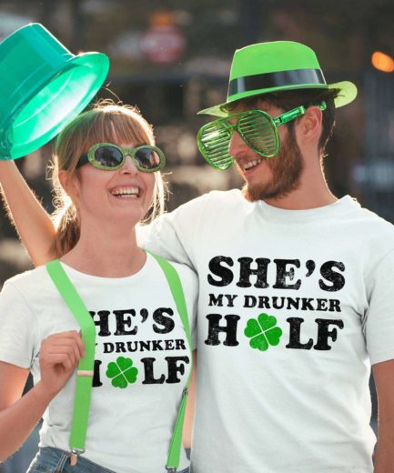Drunker Half Shirts, St. Patrick's Day Shirts, Drinking Couple Shirts