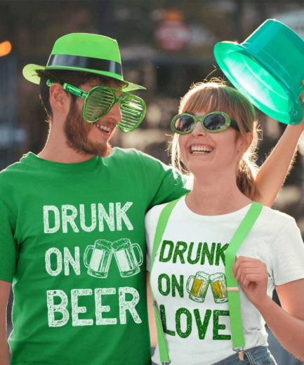 Drinking Couple Shirts, Drunk on Beer, Drunk on Love, St. Patrick's Day Shirts