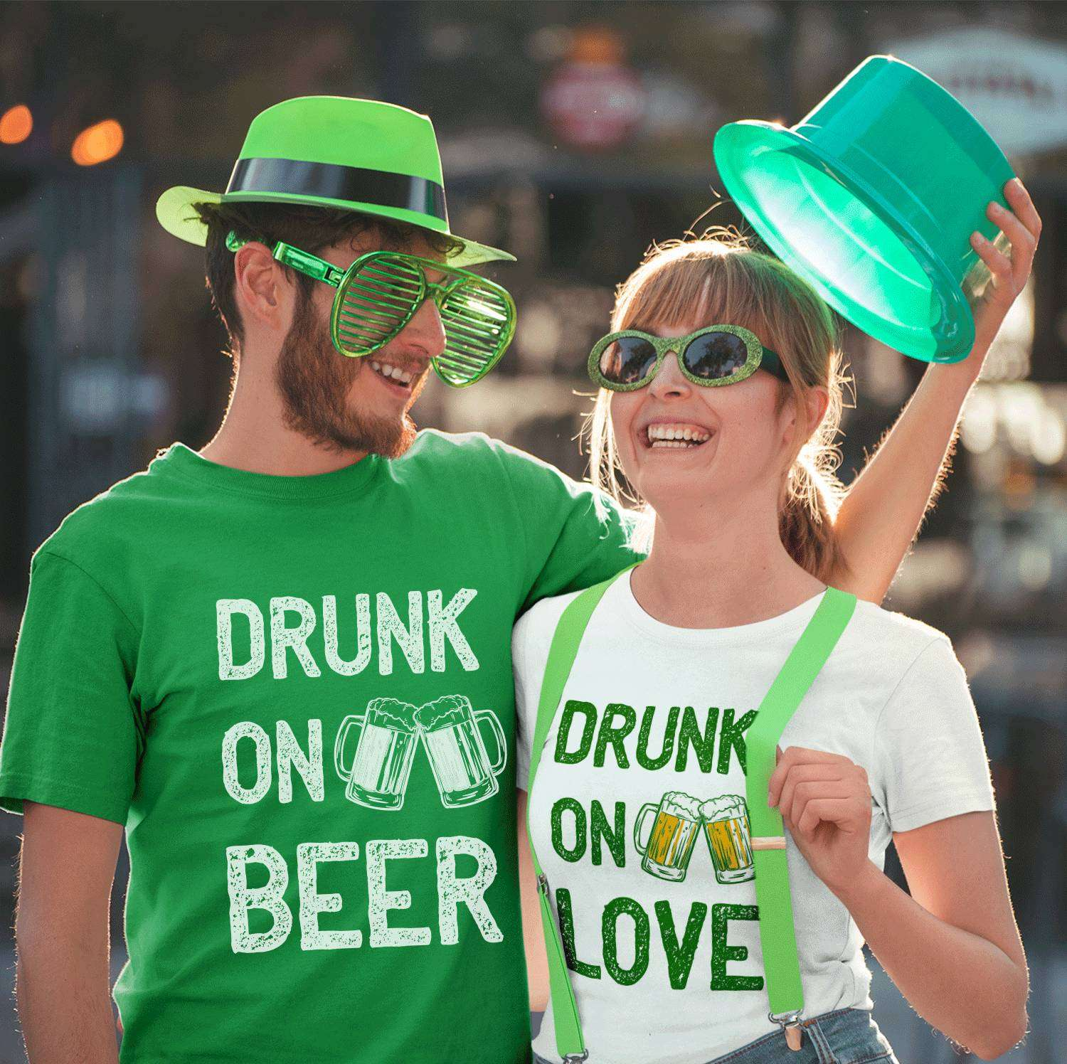 62ffa4c00 Drinking Couple Shirts, Drunk on Beer, Drunk on Love, St. Patrick's Day  Shirts
