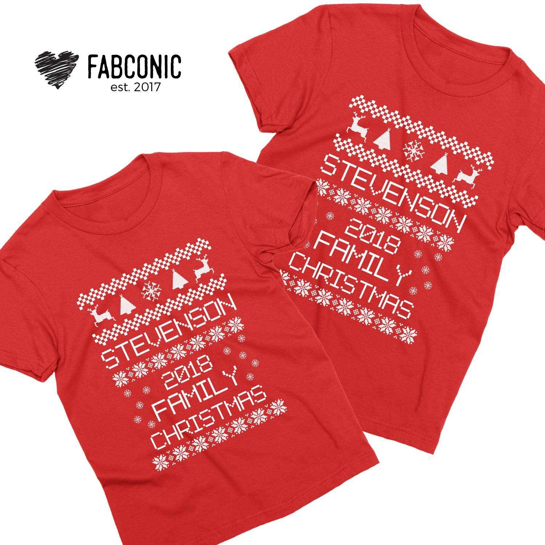 Family Christmas Shirts.Custom Name Family Christmas Couple Shirts