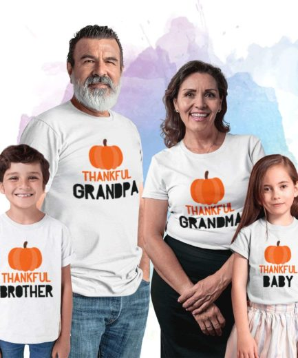 Thanksgiving Grandparents Shirts, Thankful Grandpa Grandma Baby, Family Shirts