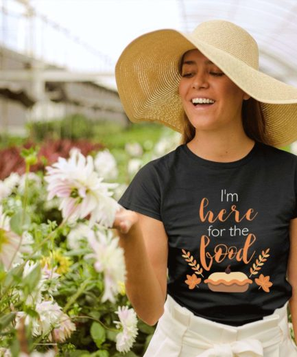 Funny Thanksgiving Shirt, I'm Just Here for the Food, Womens Thanksgiving Shirt