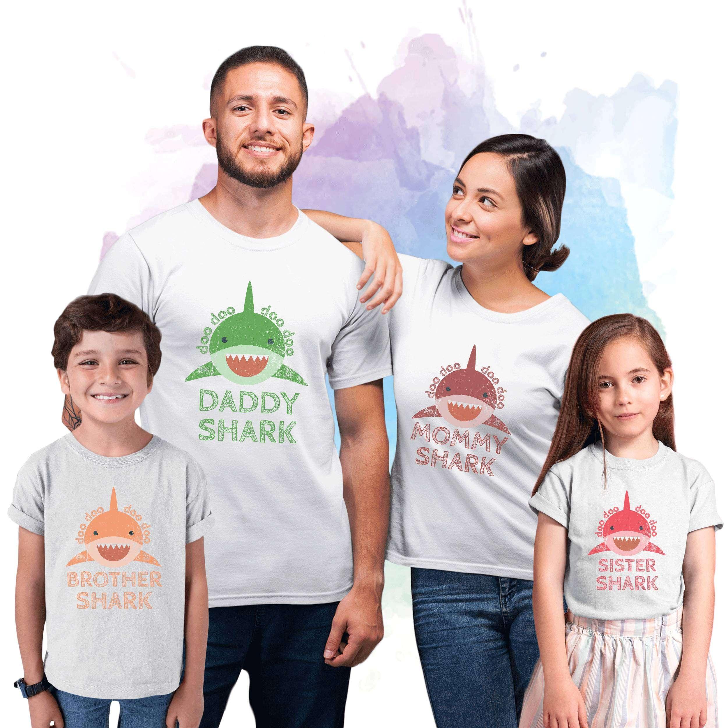 de10c525c Uncle Shark Baby Shark Aunt Shark, Family Sharks, Family Shirts