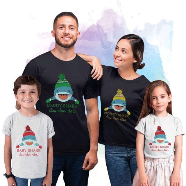 Baby Shark Christmas Shirts, Daddy Shark, Mommy Shark, Christmas Family Shirts