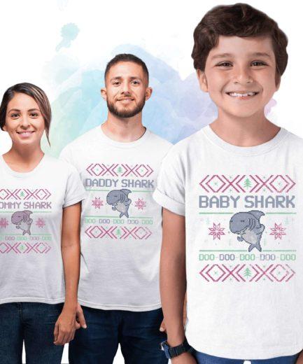 Shark Family Christmas Shirts, Baby Shark, Daddy Shark, Mommy Shark