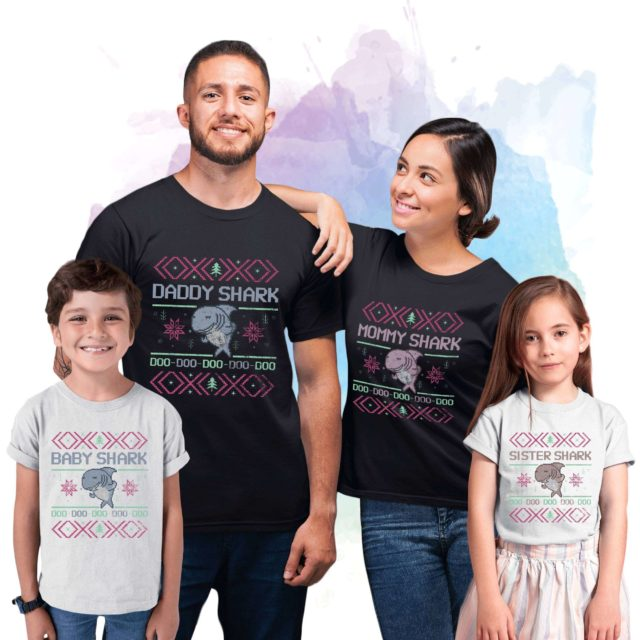 Shark Family Christmas Shirts, Baby Shark, Daddy Shark, Mommy Shark