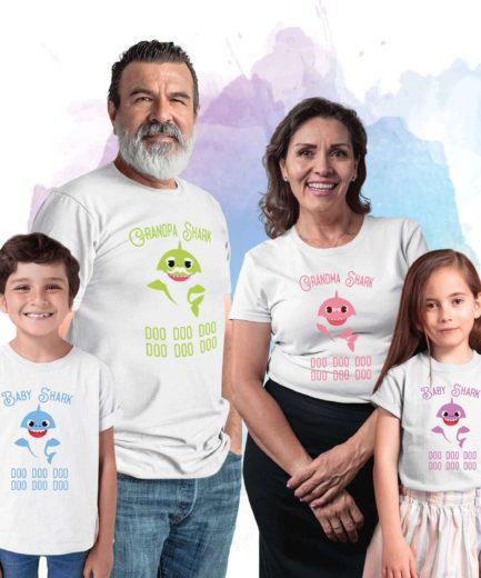 Grandpa Grandma Baby Shark, Dancing Shark, Family Sharks, Family Shirts