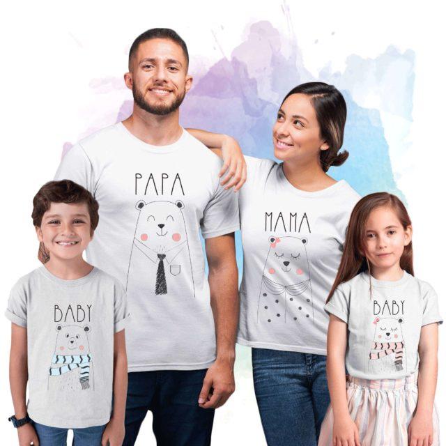 Bear Family Shirts, Papa Mama Baby Bear, Family Bear Shirts