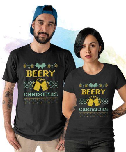 Beer Christmas Shirt, Beery Christmas Couple Shirts, Funny Beer Shirt