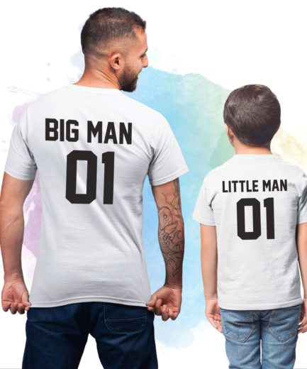 Big Man Little Man 01, Matching Father & Son Shirts, Custom Number Shirt