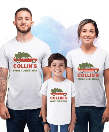 Custom Family Christmas Outfit, Tree on Car, Ugly Christmas Family Shirts