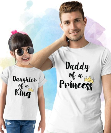 Father Daughter T-Shirts,Daddy of a Princess, Daughter of a King