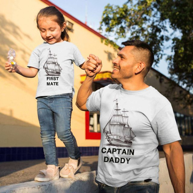 Captain Daddy Shirt, First Mate, Ships, Father & Kid Matching Shirts