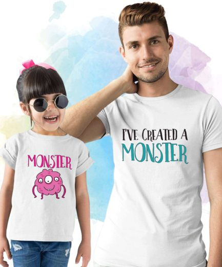 Monster Created a Monster Shirts, Father & Kid Matching Outfit