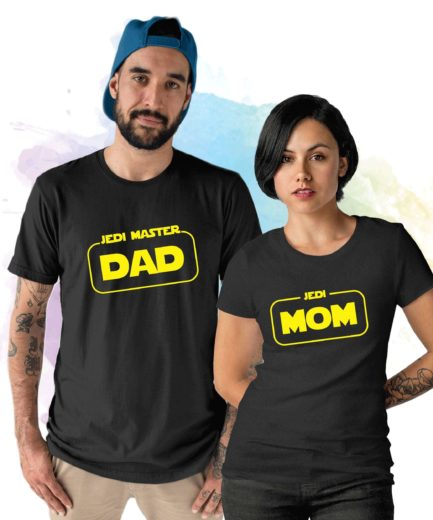 Jedi Master Dad Jedi Mom, Mother and Father Matching Shirts