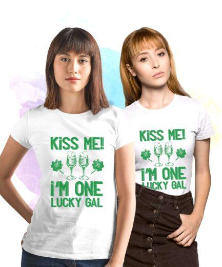 St Patricks Day Womens Shirt,Kiss Me I'm One Lucky Gal