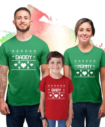 Ugly Christmas Family Shirts, Mommy Daddy Baby Matching Shirts