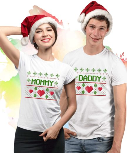 Mommy Daddy Christmas Shirts, Matching Ugly Couple Shirts