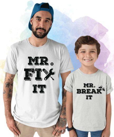 Daddy Baby Shirts, Mr Fix It, Mr Break It, Matching Father & Son Shirts