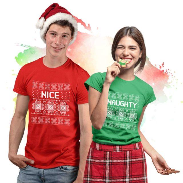 Naughty Nice Shirts, Christmas Couple Shirts, Gift Idea for Christmas