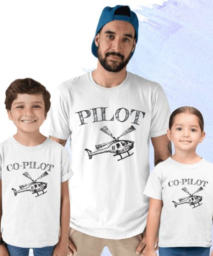 Pilot Co-Pilot Father Kid Shirts, Family Shirts, Matching shirts for Father's Day