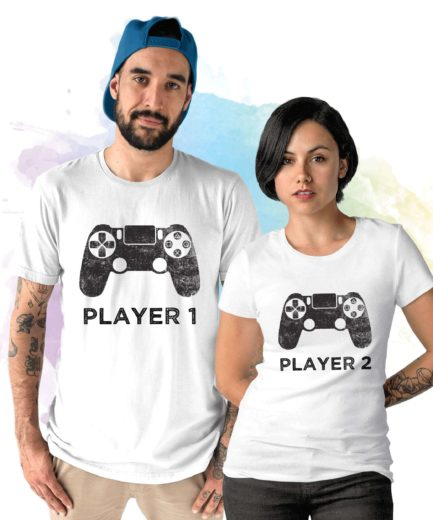 Player 1 Player 2 Couple Shirts, Matching Shirts for Couples