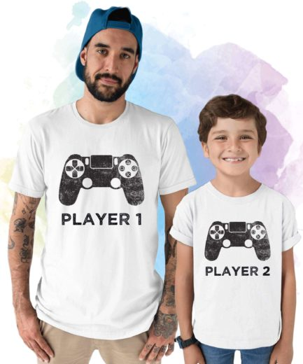 Father Son Matching, Player 1, Player 2, Father & Kid Shirts, Gift for Father's Day
