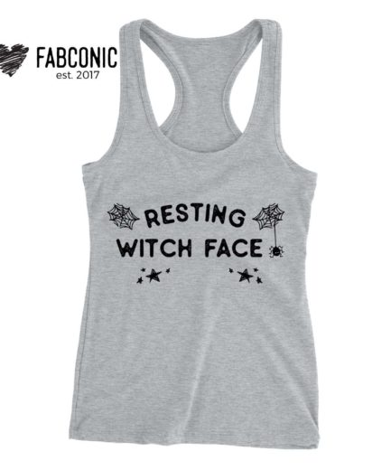 Resting Witch Face Tank, Halloween Tank Tops, Womens Tanks