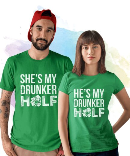 St Patricks Day Couple Shirts, He's My Drunker Half, She's My Drunker Half