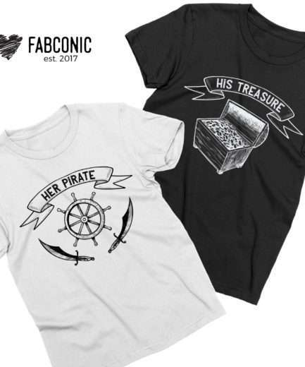 Her Pirate His Treasure, Couple Shirts, Matching Couples Shirts