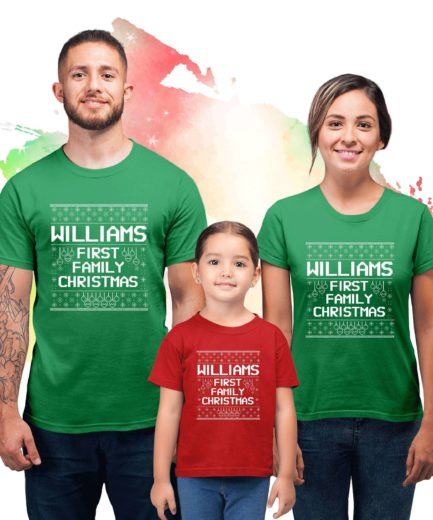 First Christmas Family Shirts, Custom Name, Christmas Family Shirts