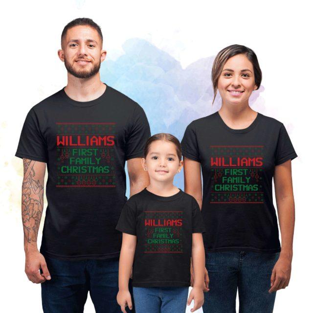 First Christmas Family Shirts, Custom Name, Christmas Family Shirts