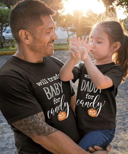 Halloween Father Kid Shirts, Will Trade Daddy For Candy, Family Shirts