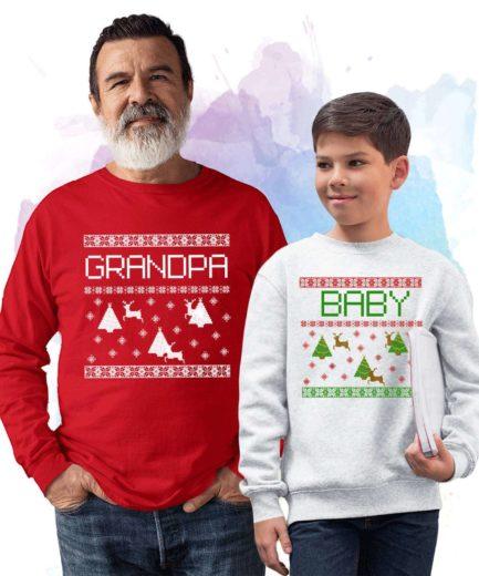 Grandpa Baby Xmas Sweatshirts, Falling Snow, Christmas Family Sweatshirts