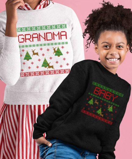 Grandma Baby Xmas Sweatshirts, Falling Snow, Christmas Family Sweatshirts