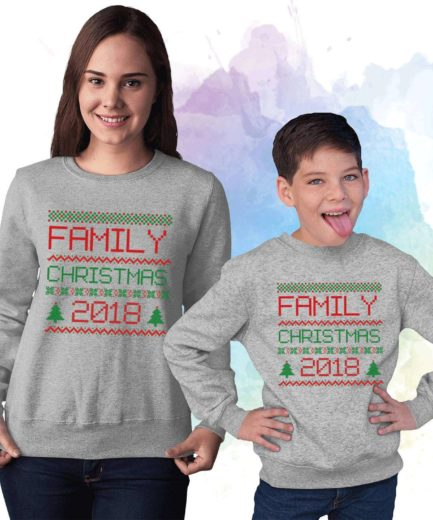 Family Christmas Custom Year Sweatshirts, Family Sweatshirts, Personalized Outfit