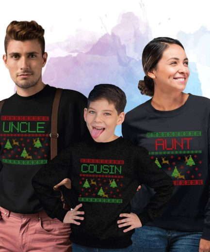 Aunt Uncle Cousin Xmas Christmas, Falling Snow, Christmas Family Sweatshirts