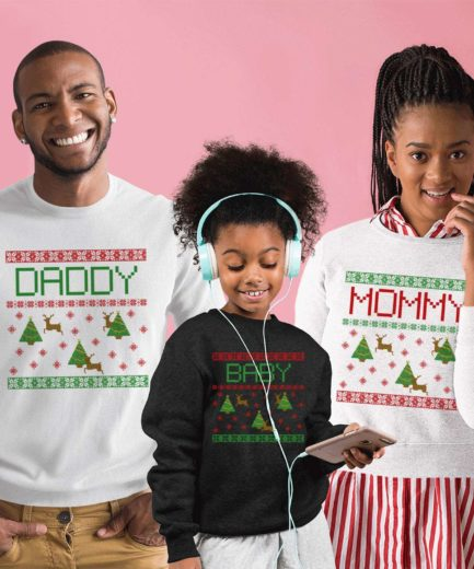 Mommy Daddy Baby Xmas Sweatshirts, Falling Snow, Christmas Family Sweatshirts