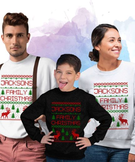 Custom Name Family Christmas, Personalized Family Sweatshirts