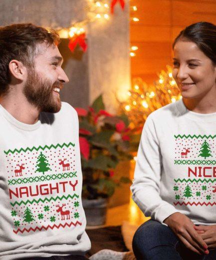 Naughty Nice Christmas Outfit, Matching Couple Sweatshirts, Christmas Gift Idea