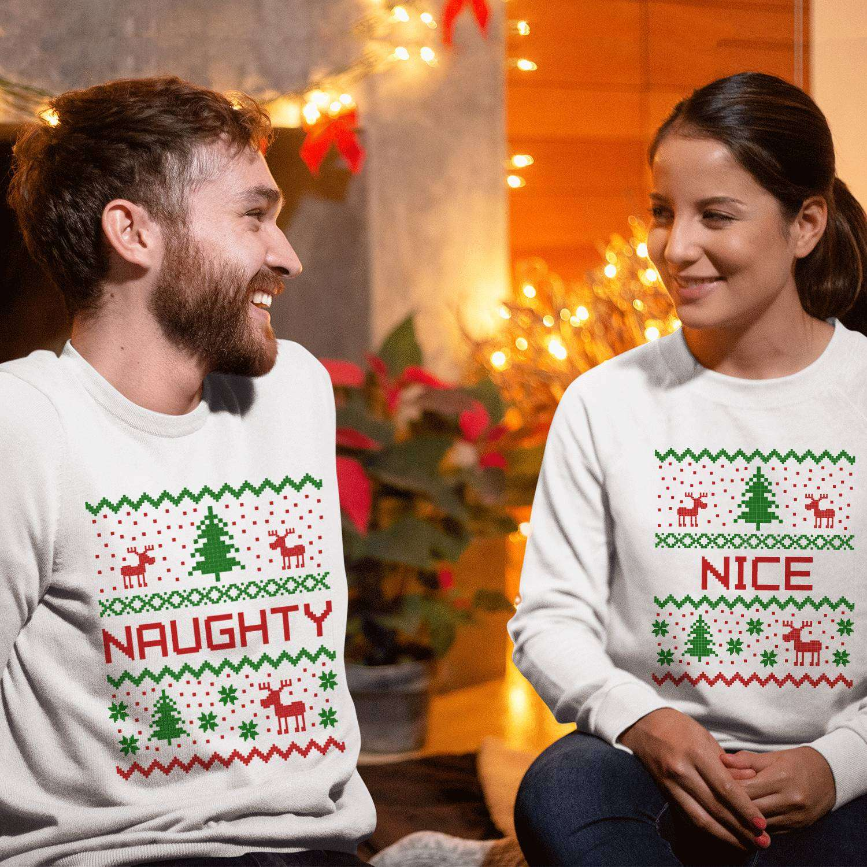 a8d8ab368 Naughty Nice Christmas Outfit, Matching Couple Sweatshirts, Christmas Gift  Idea
