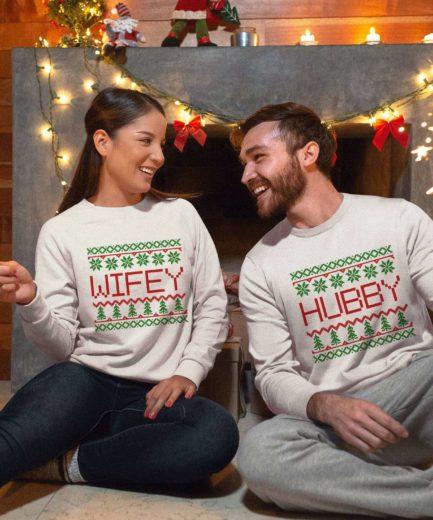 Hubby Wifey Ugly Christmas Sweatshirts, Matching Couple Sweatshirts
