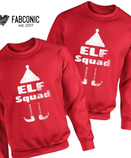 Elf Squad Christmas Sweatshirts, Christmas Outfit, Family Sweatshirts
