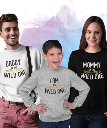 Wild One Family Sweatshirts, Dad Mom Baby, Family Matching Sweatshirts
