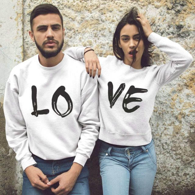 LOVE Couple Sweatshirts, Matching Couple, His and Hers Gift Idea