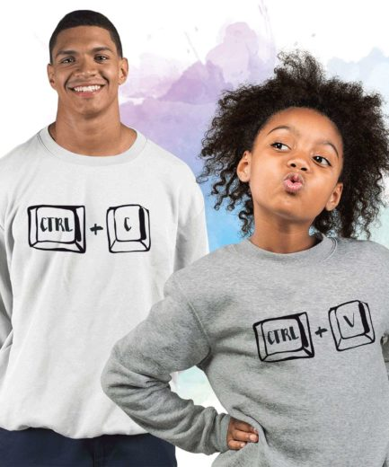 Ctrl C Ctrl V Family Sweatshirts, Matching Copy Paster Crewnecks