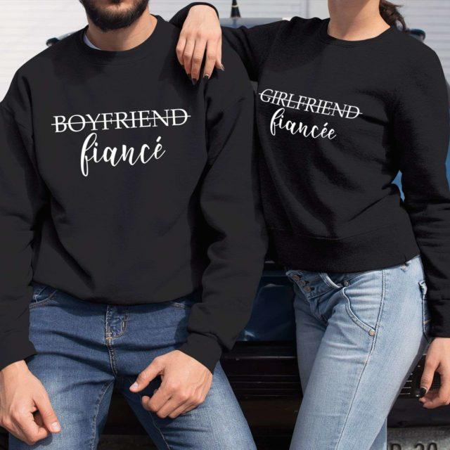 Girlfriend Fiancee Boyfriend Fiance, Matching Couple Sweatshirts