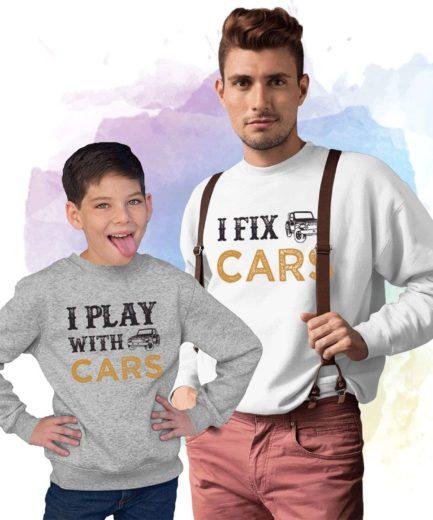 I Play with Cars I Fix Cars Sweatshirts, Family Sweatshirts