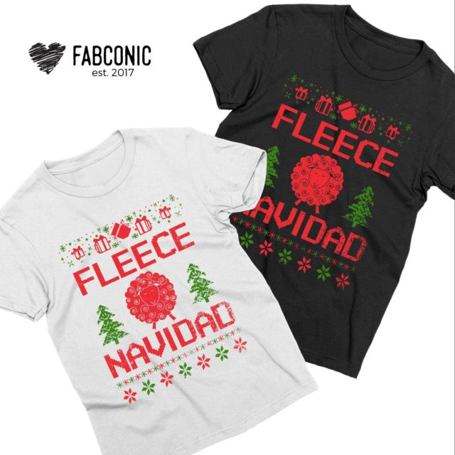 Fleece Navidad Couple Shirts, Matching Christmas Shirts